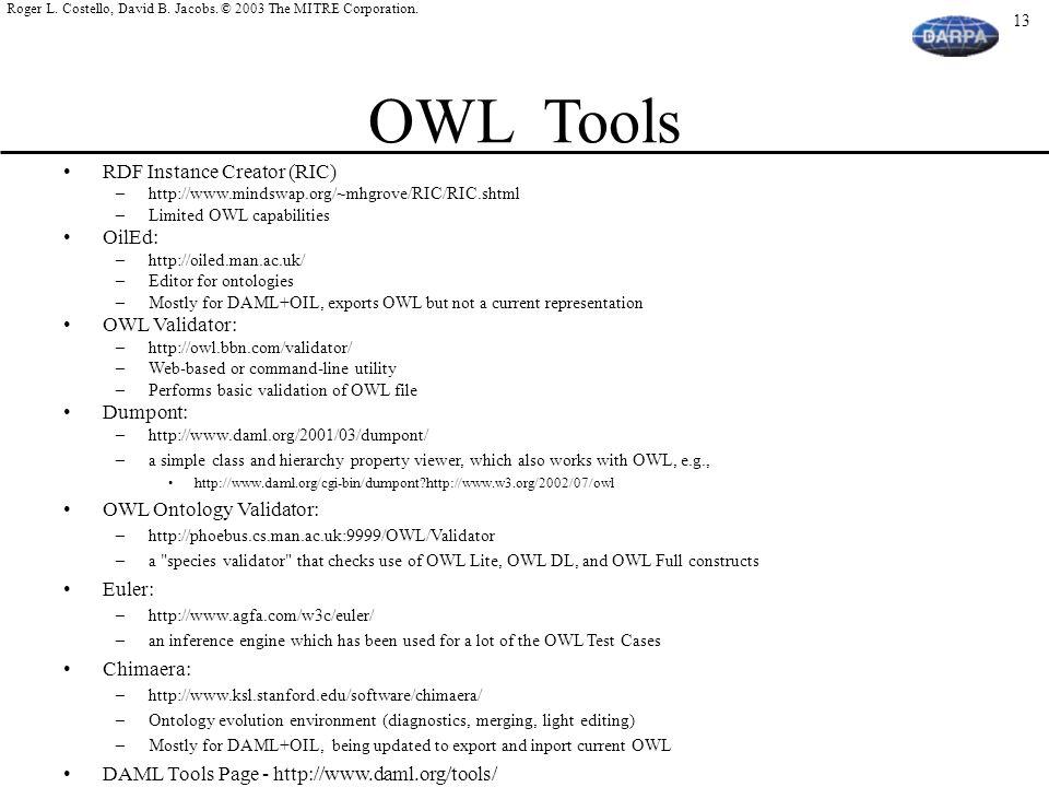 OWL Tools RDF Instance Creator (RIC) OilEd: OWL Validator: Dumpont: