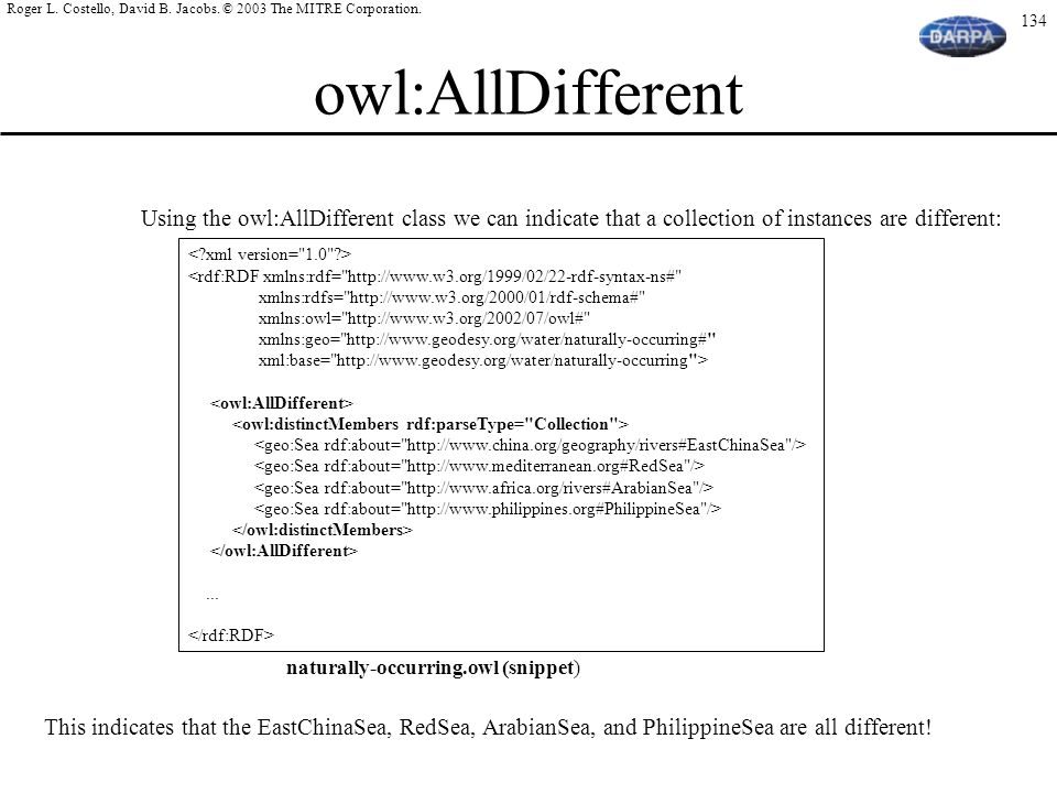 owl:AllDifferent Using the owl:AllDifferent class we can indicate that a collection of instances are different: