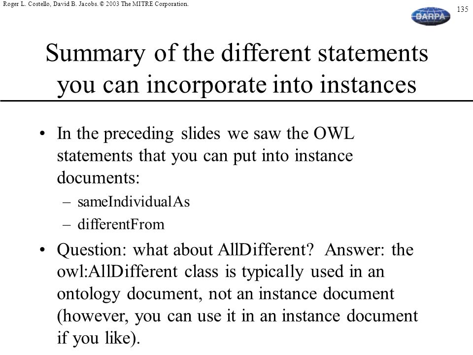 Summary of the different statements you can incorporate into instances