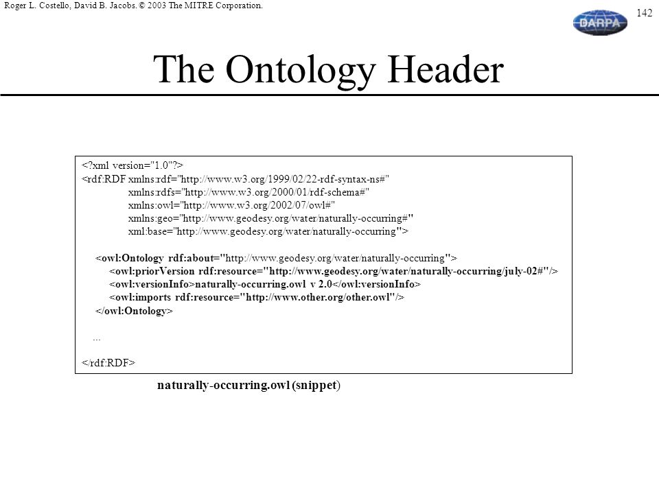 The Ontology Header naturally-occurring.owl (snippet)