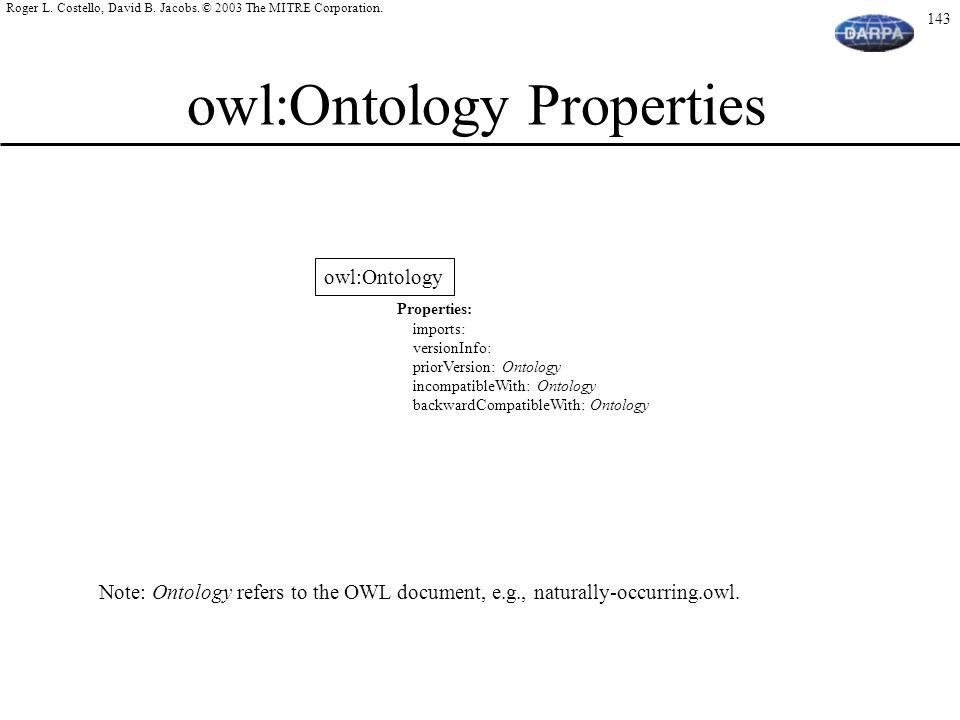 owl:Ontology Properties