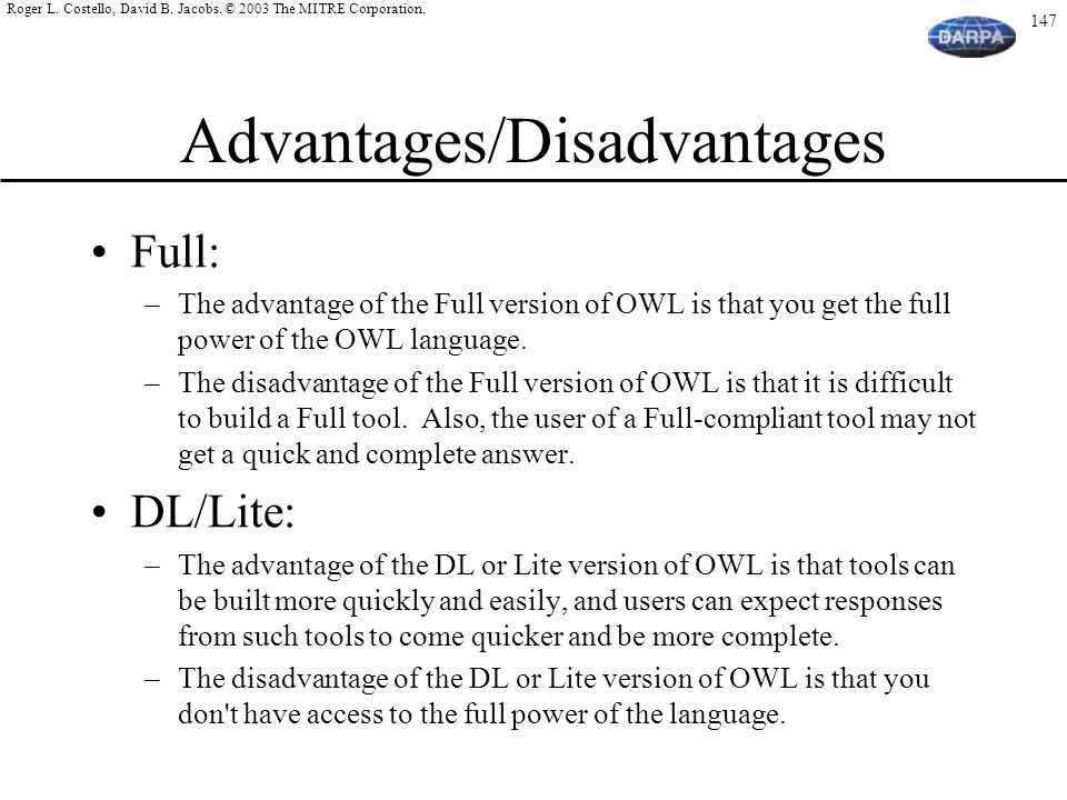 Advantages/Disadvantages