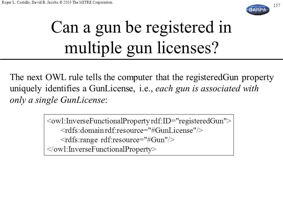 Can a gun be registered in multiple gun licenses