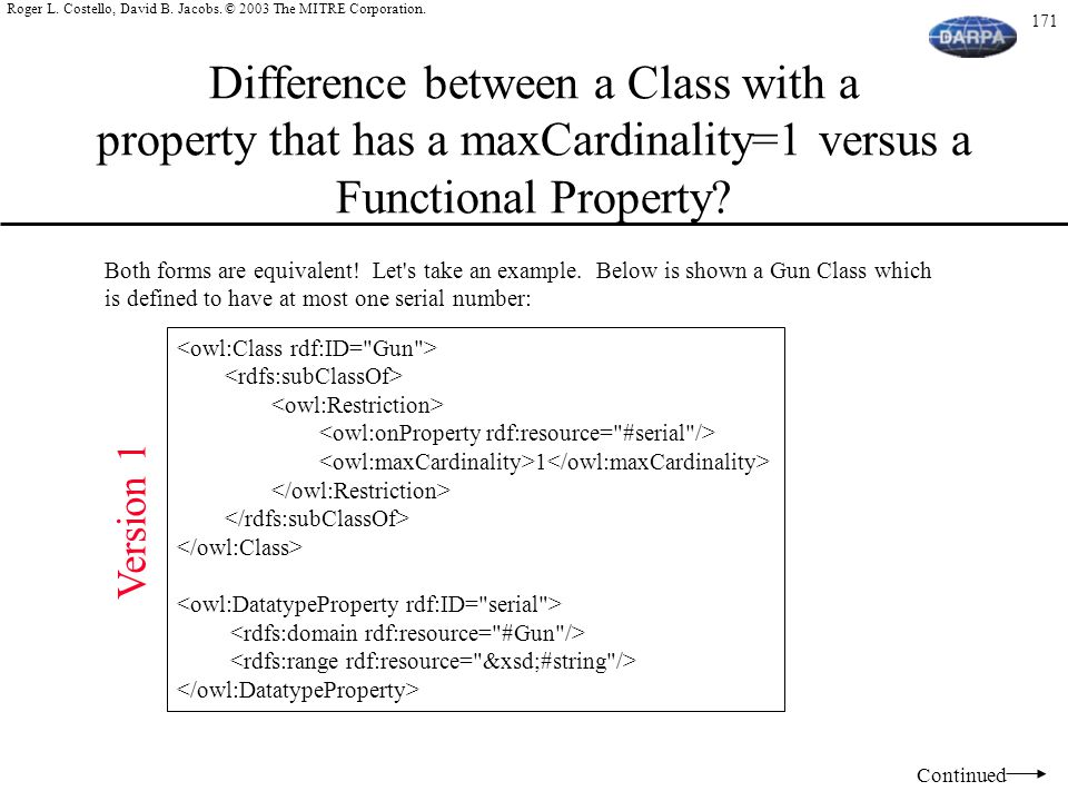 Difference between a Class with a property that has a maxCardinality=1 versus a Functional Property