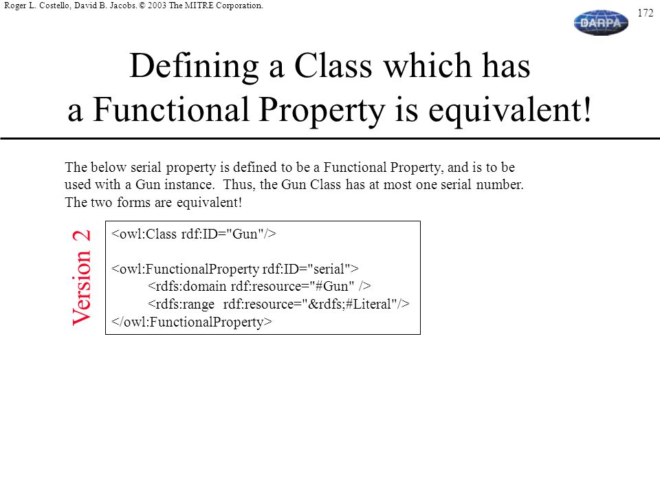 Defining a Class which has a Functional Property is equivalent!