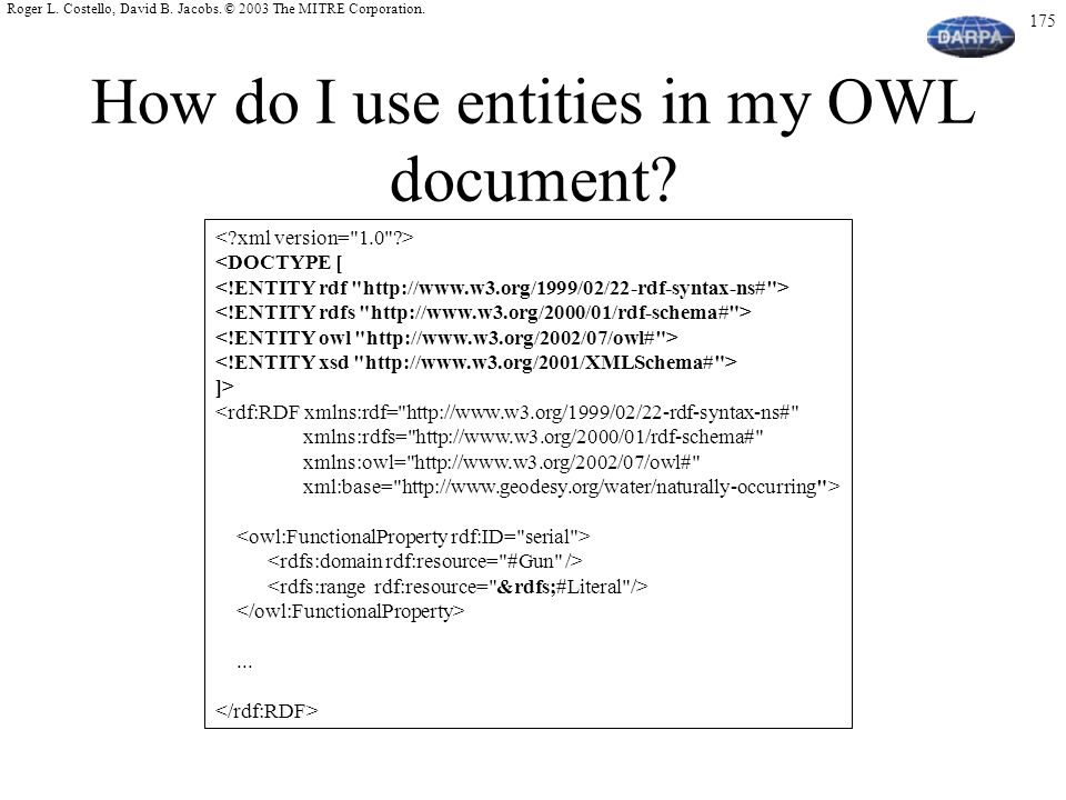 How do I use entities in my OWL document