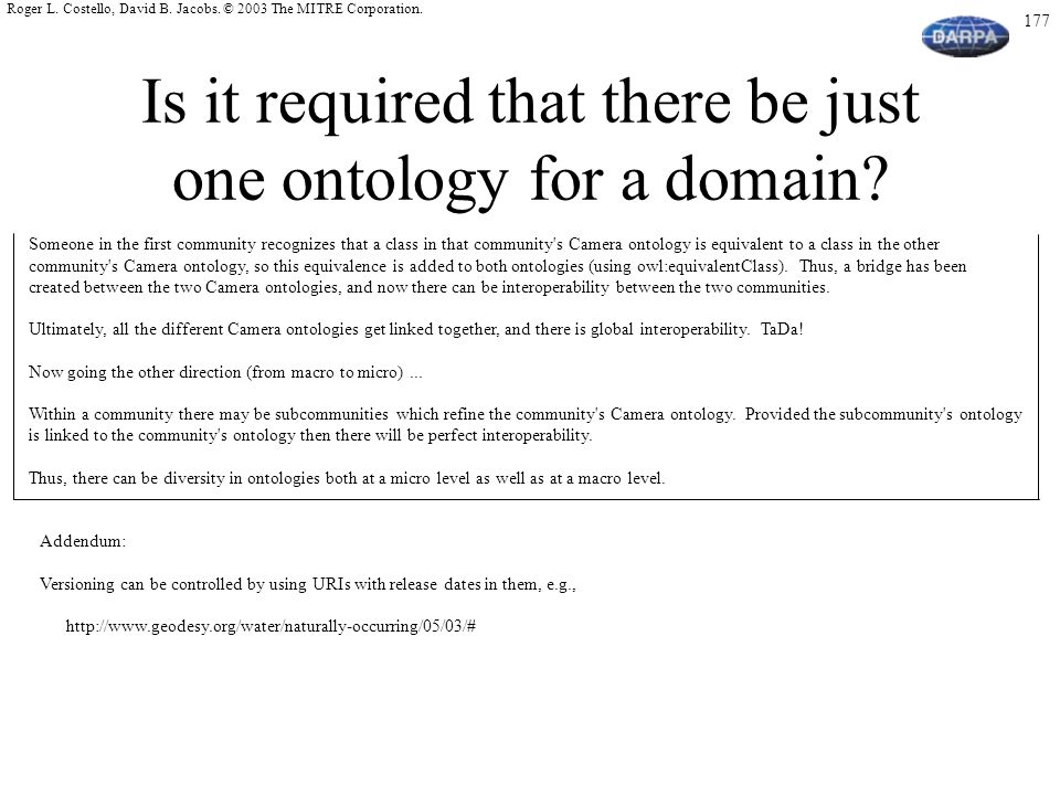 Is it required that there be just one ontology for a domain