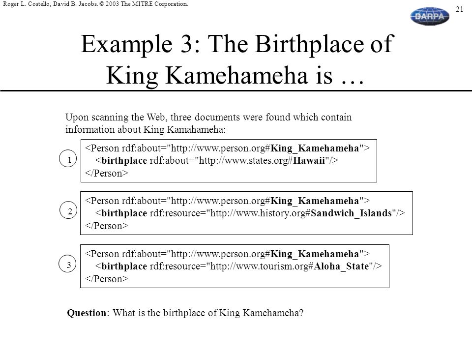 Example 3: The Birthplace of King Kamehameha is …
