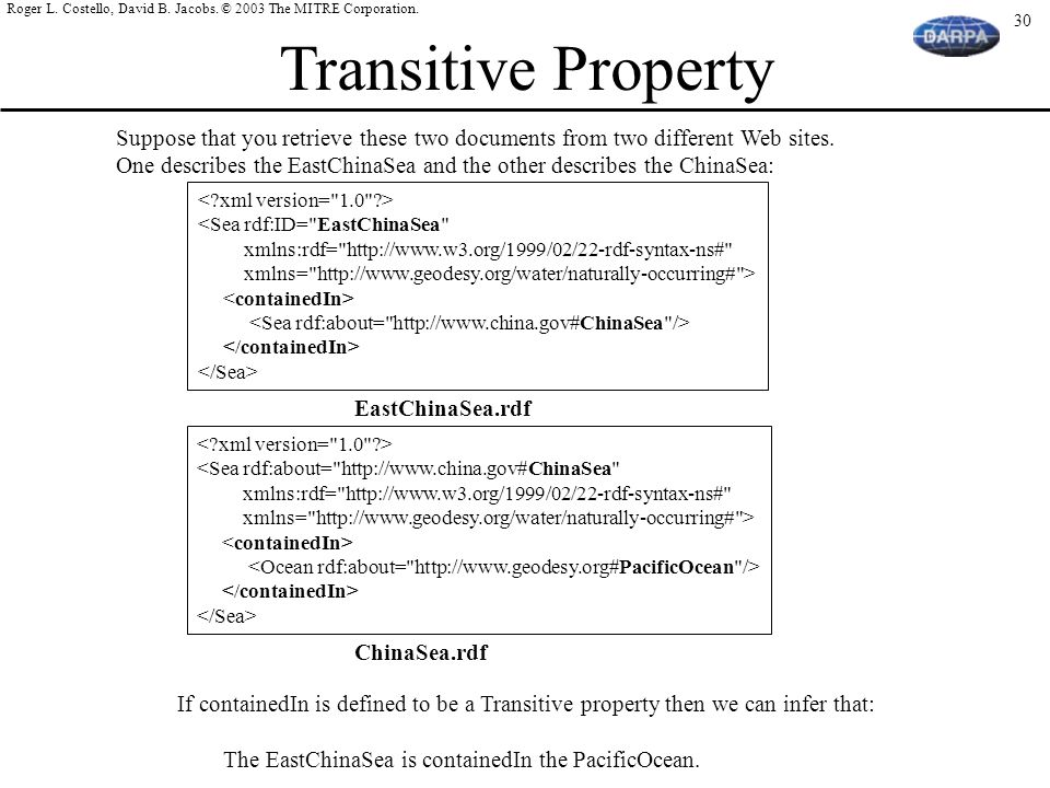 Transitive Property Suppose that you retrieve these two documents from two different Web sites.