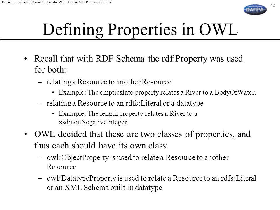 Defining Properties in OWL