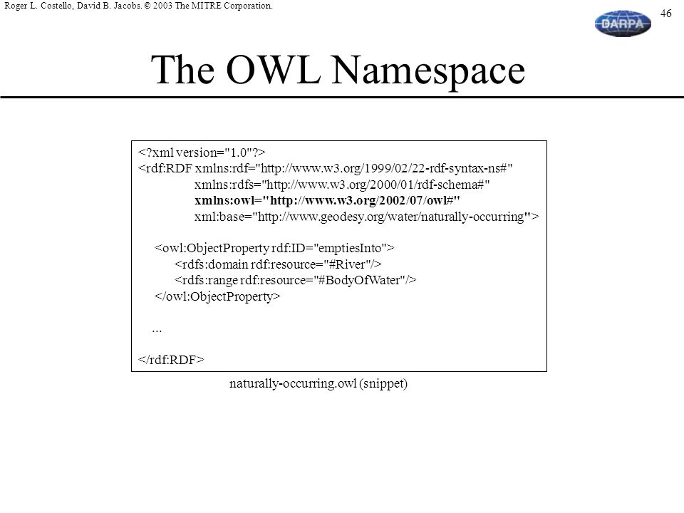 The OWL Namespace < xml version= 1.0 >