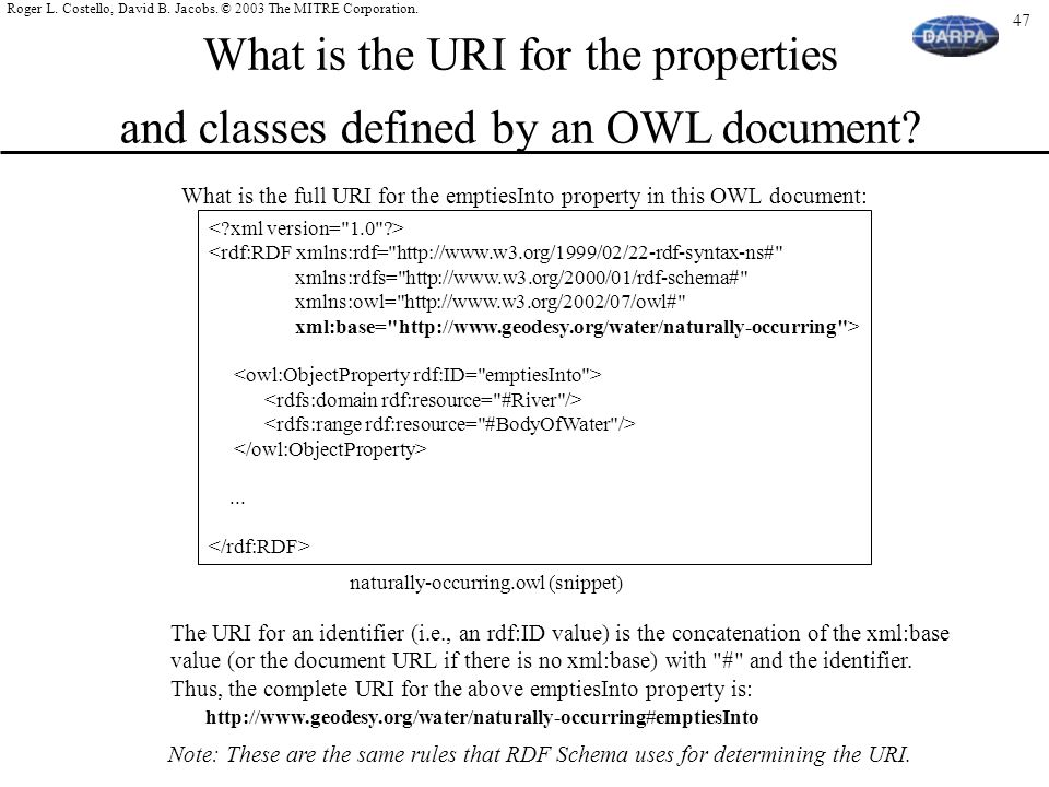 What is the URI for the properties and classes defined by an OWL document