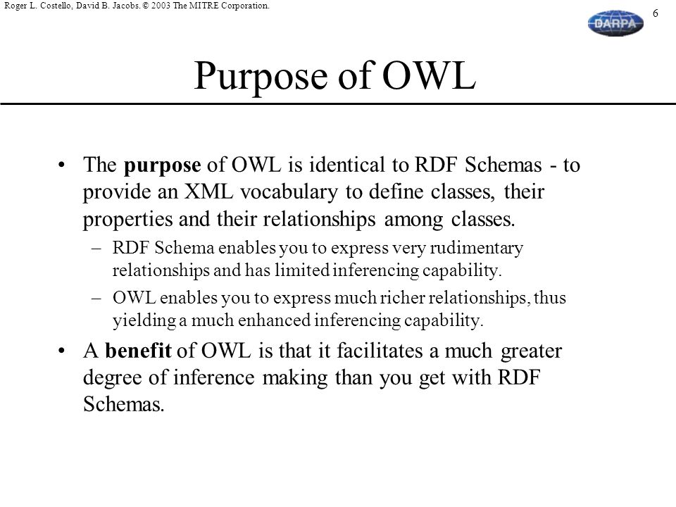 Purpose of OWL