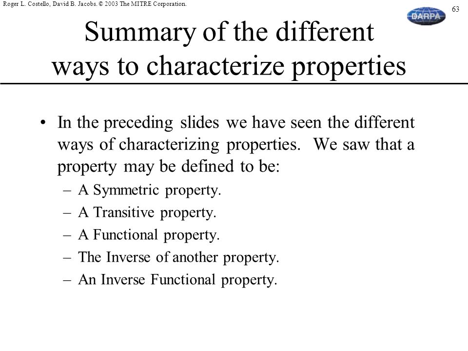 Summary of the different ways to characterize properties