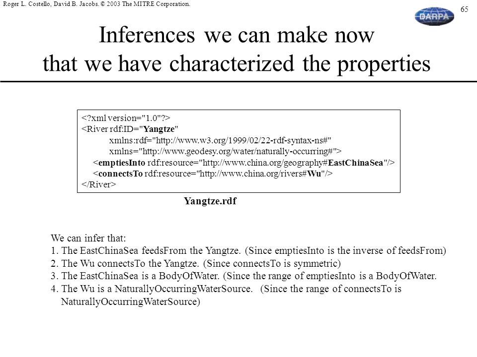Inferences we can make now that we have characterized the properties
