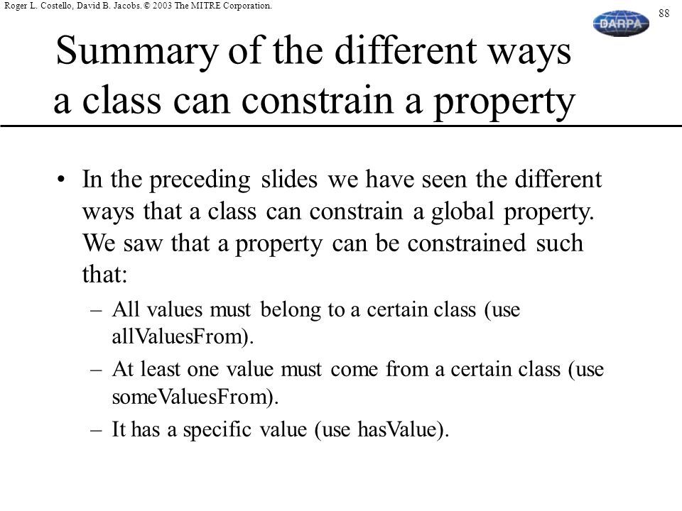 Summary of the different ways a class can constrain a property