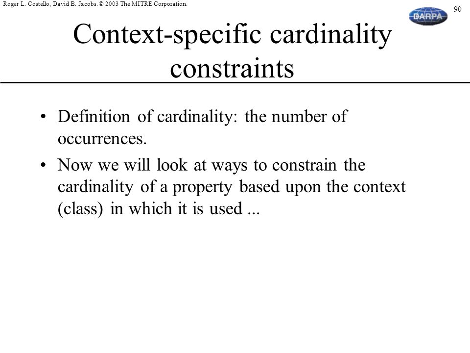 Context-specific cardinality constraints