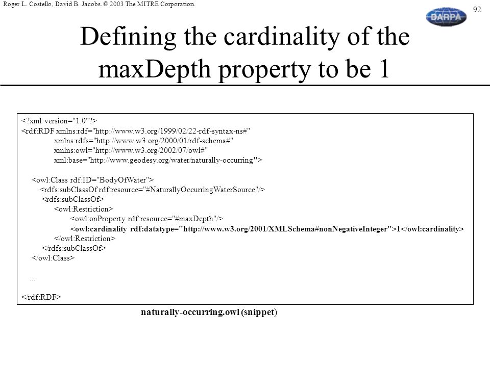 Defining the cardinality of the maxDepth property to be 1