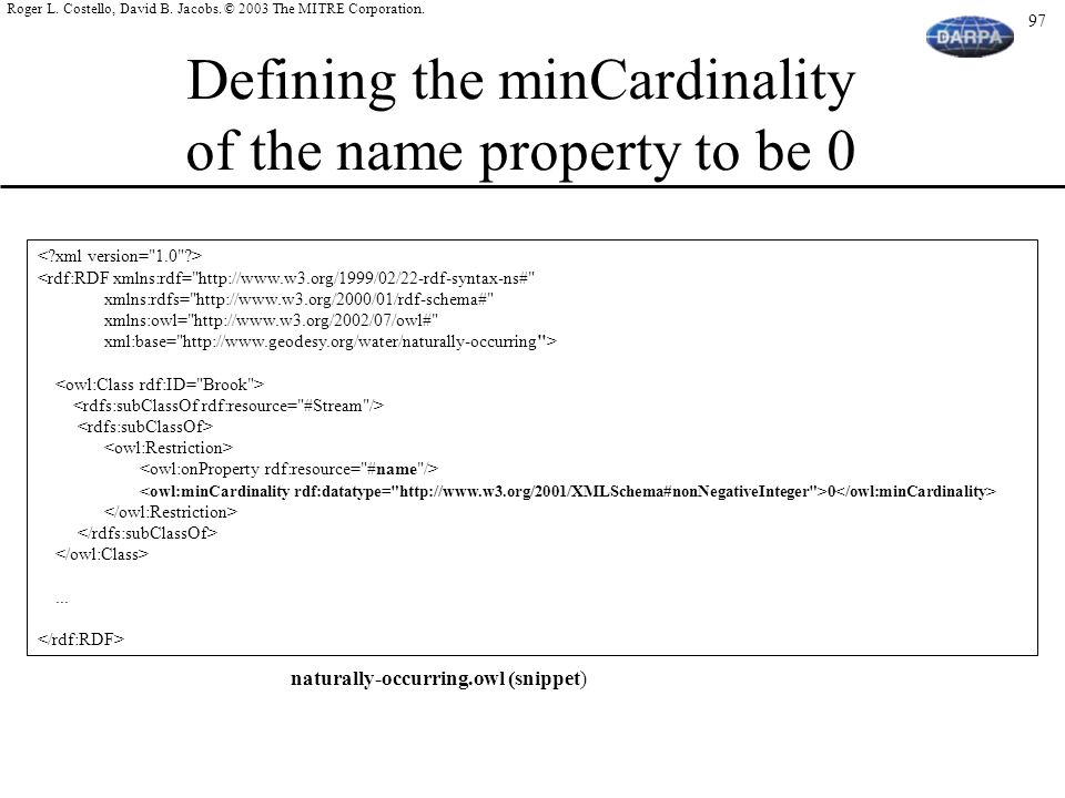 Defining the minCardinality of the name property to be 0