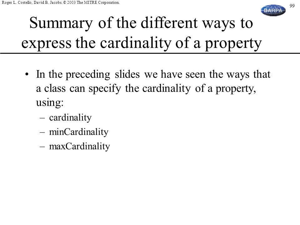 Summary of the different ways to express the cardinality of a property