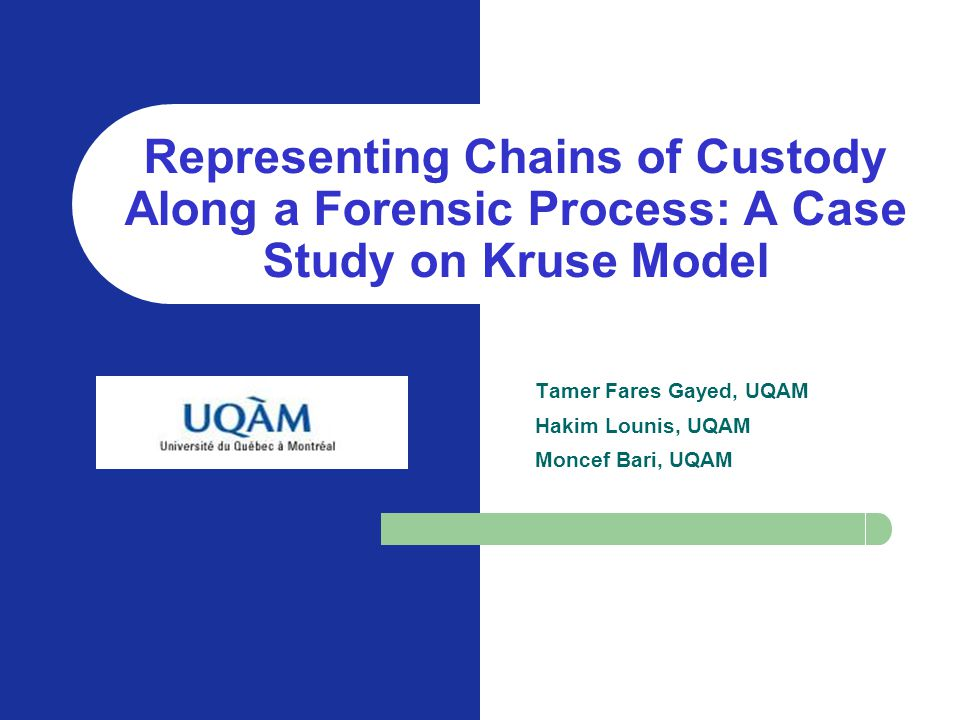 KOM, SEKE, June 20, 2004 Representing Chains of Custody Along a Forensic Process: A Case Study on Kruse Model.