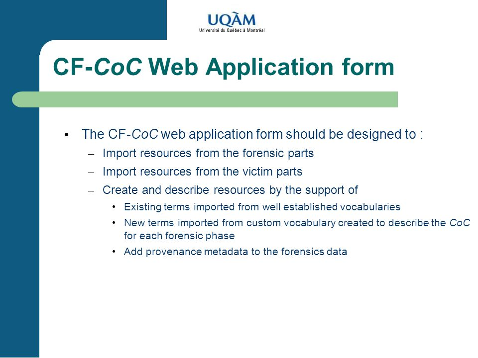 CF-CoC Web Application form