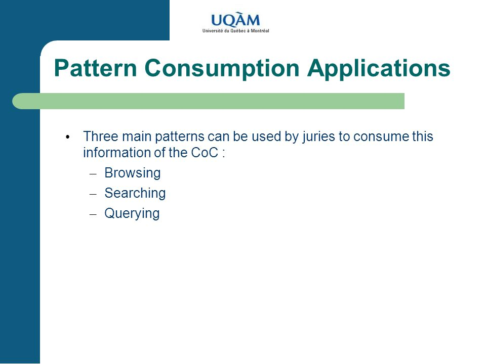 Pattern Consumption Applications