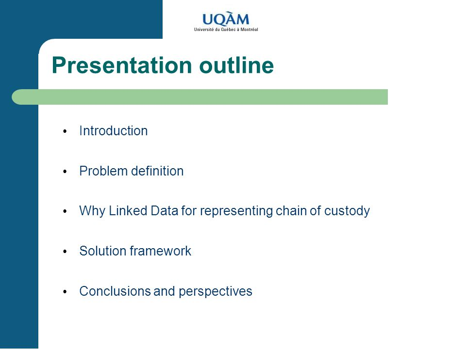 Presentation outline Introduction Problem definition