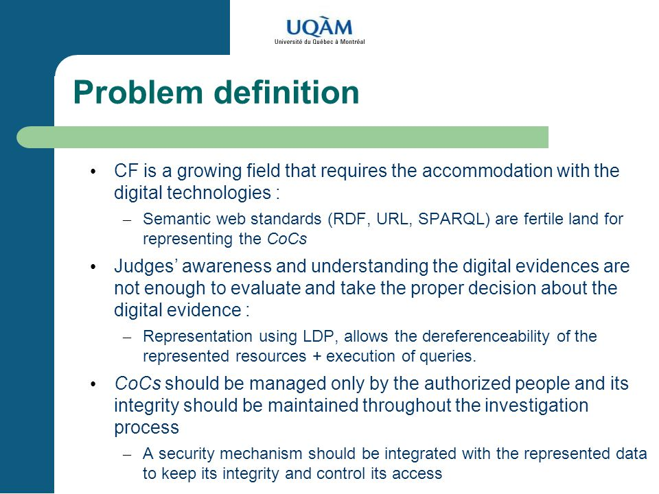 KOM, SEKE, June 20, 2004 Problem definition. CF is a growing field that requires the accommodation with the digital technologies :