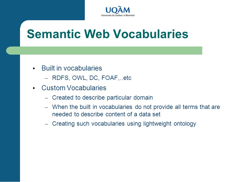 Semantic Web Vocabularies