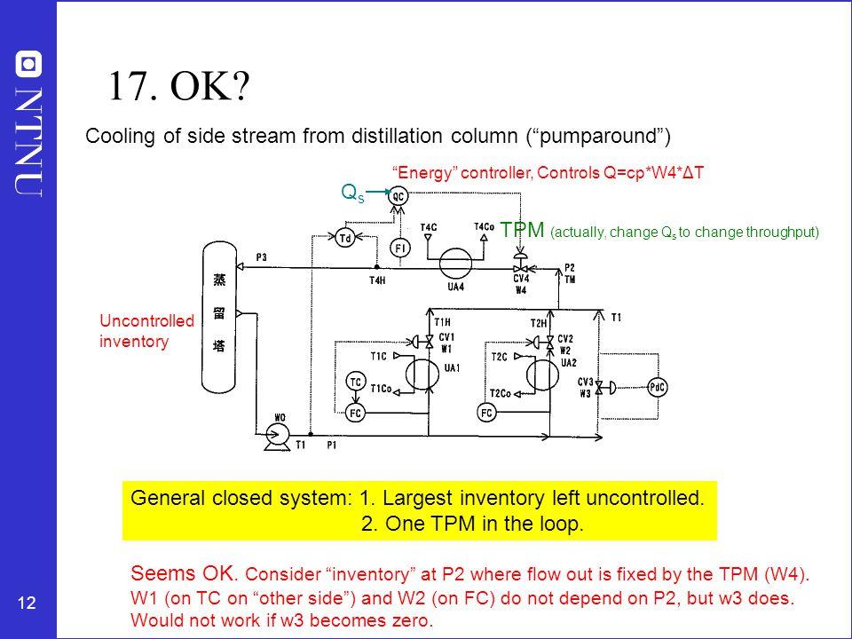 17. OK Cooling of side stream from distillation column ( pumparound )