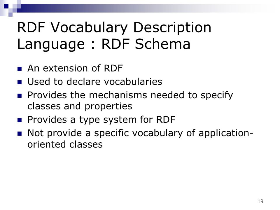 RDF Vocabulary Description Language : RDF Schema