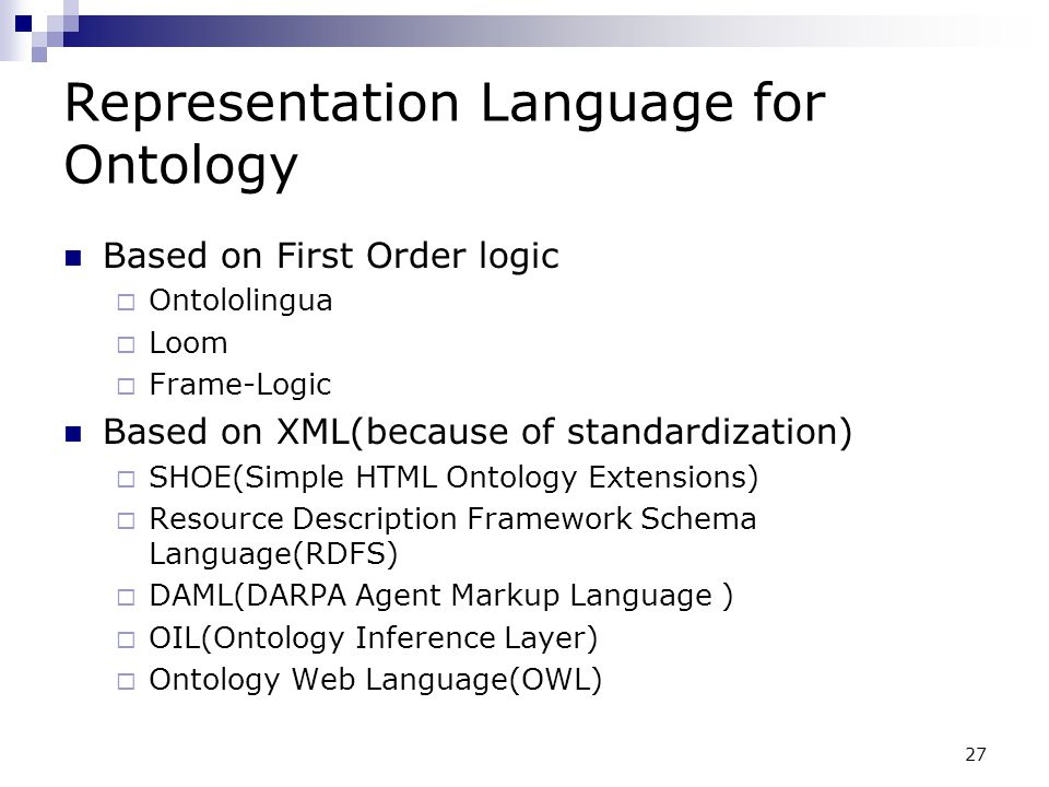 Representation Language for Ontology