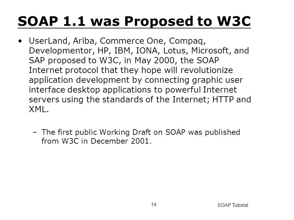 SOAP 1.1 was Proposed to W3C
