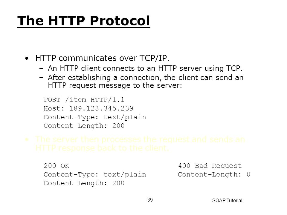 The HTTP Protocol HTTP communicates over TCP/IP.