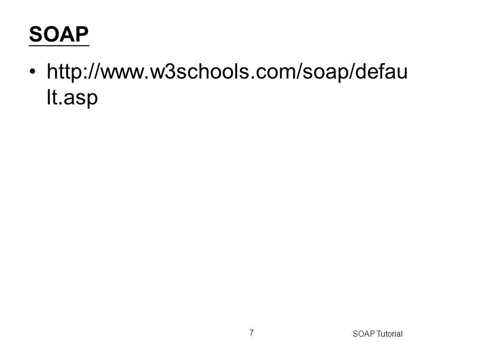 SOAP http://www.w3schools.com/soap/default.asp SOAP Tutorial