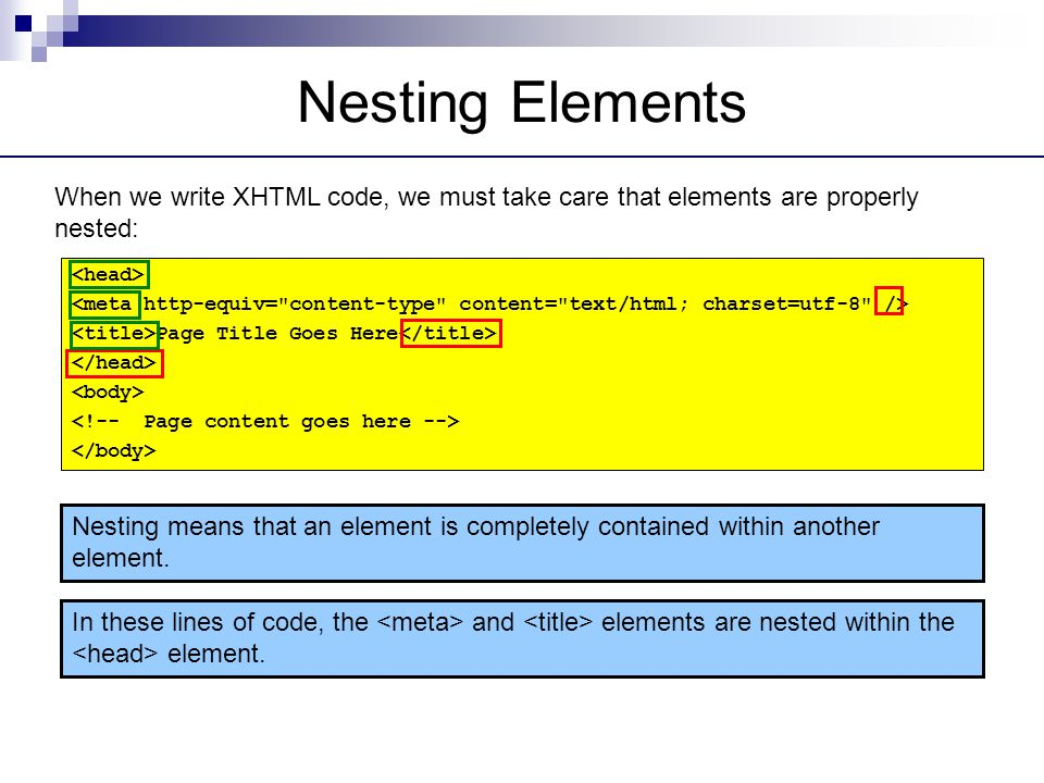 Nesting Elements When we write XHTML code, we must take care that elements are properly nested: <head>