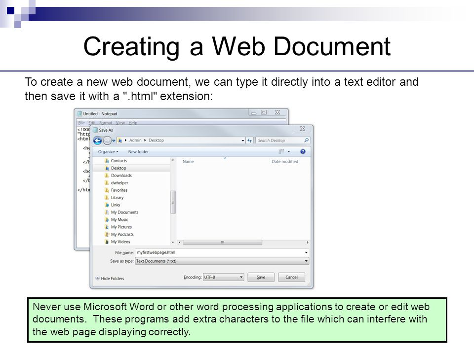 Creating a Web Document