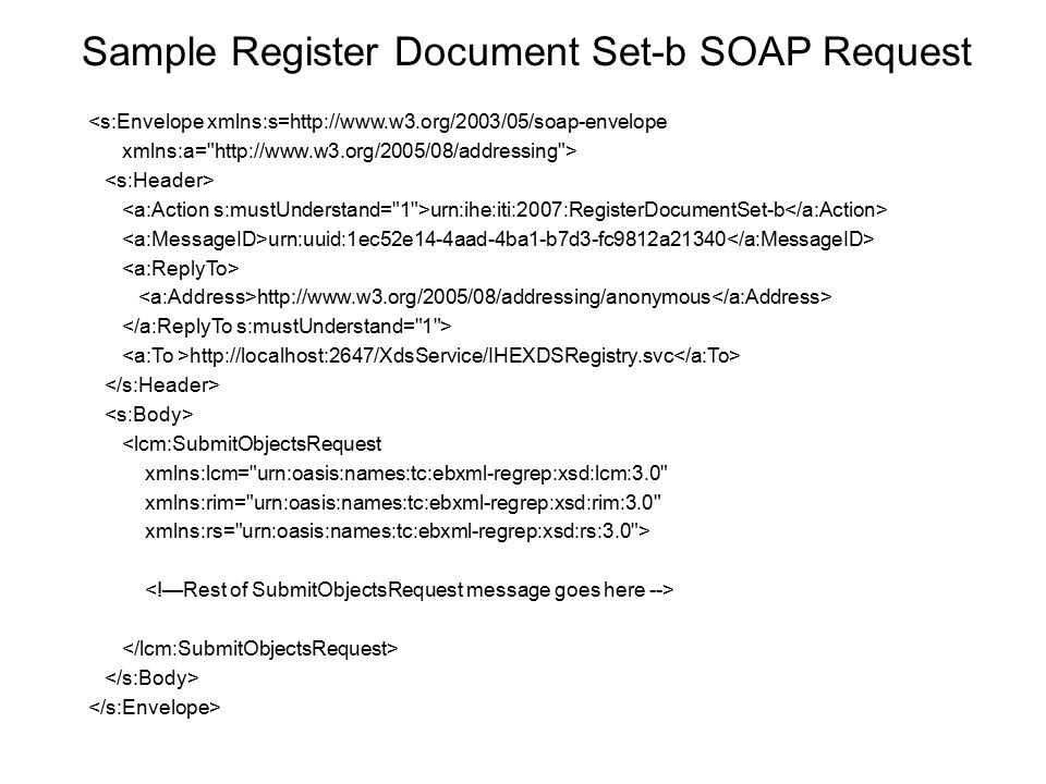 Sample Register Document Set-b SOAP Request