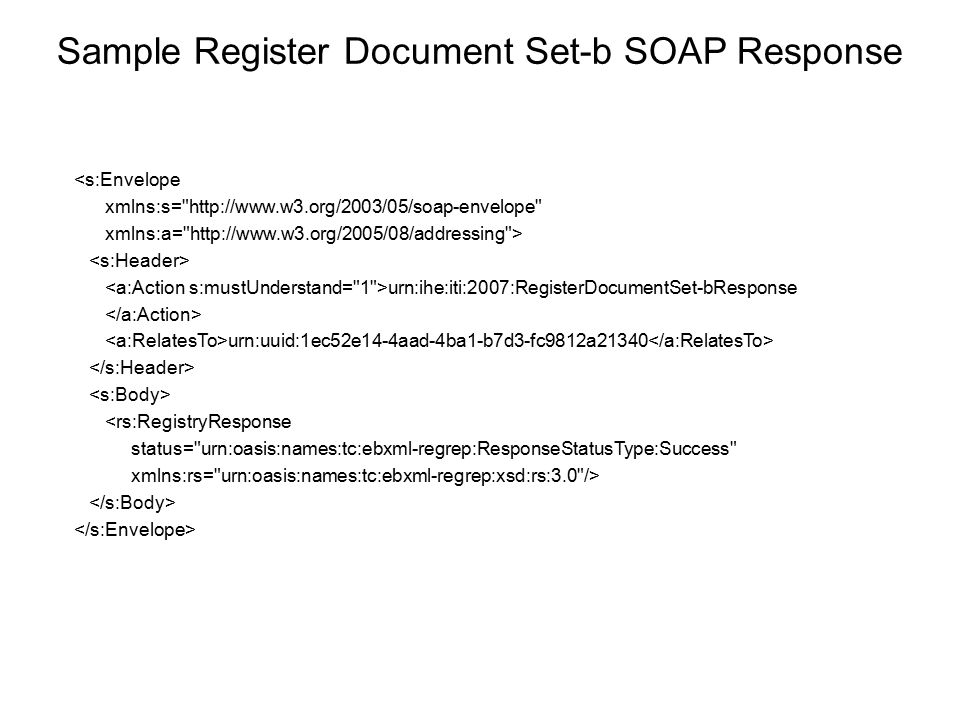 Sample Register Document Set-b SOAP Response