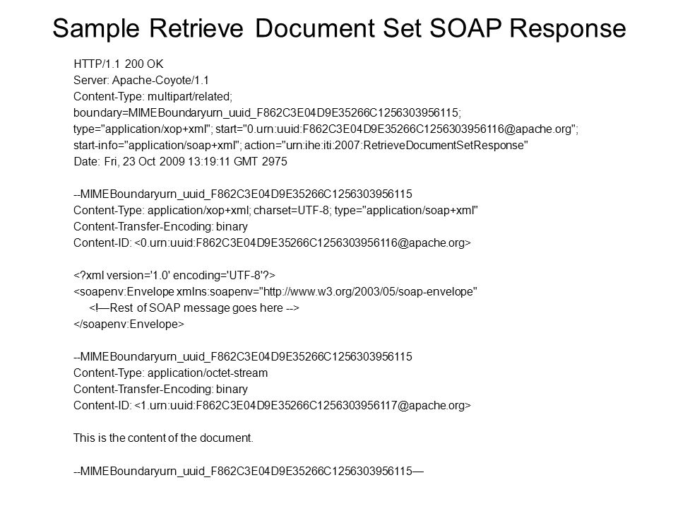 Sample Retrieve Document Set SOAP Response