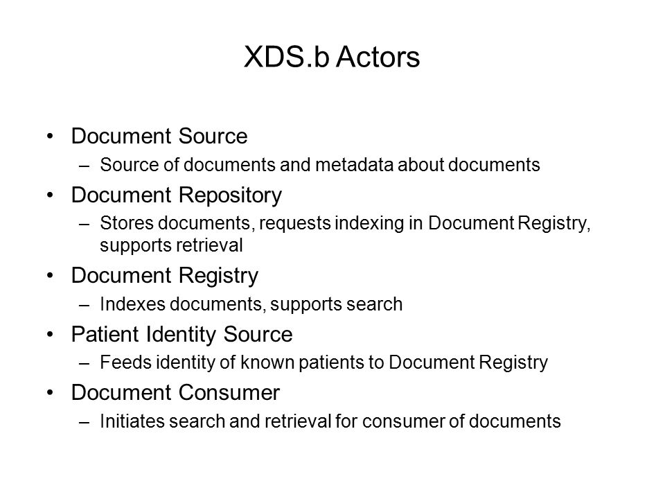 XDS.b Actors Document Source Document Repository Document Registry