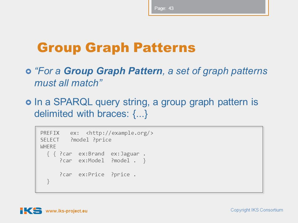 Group Graph Patterns For a Group Graph Pattern, a set of graph patterns must all match