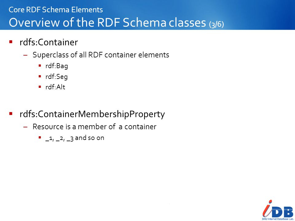 Core RDF Schema Elements Overview of the RDF Schema classes (3/6)