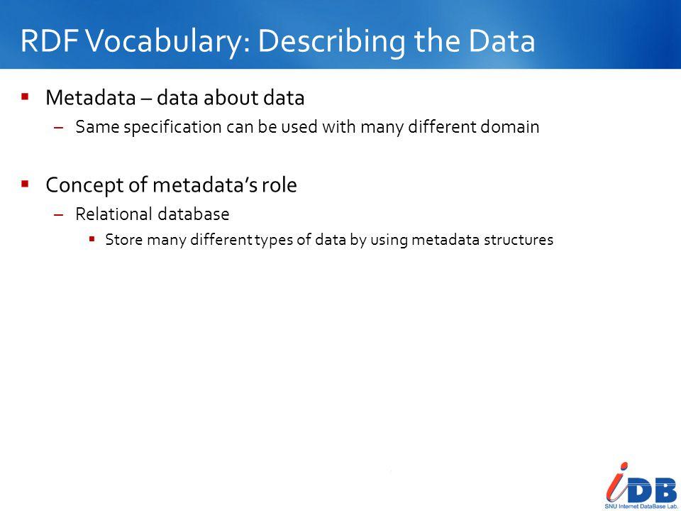 RDF Vocabulary: Describing the Data