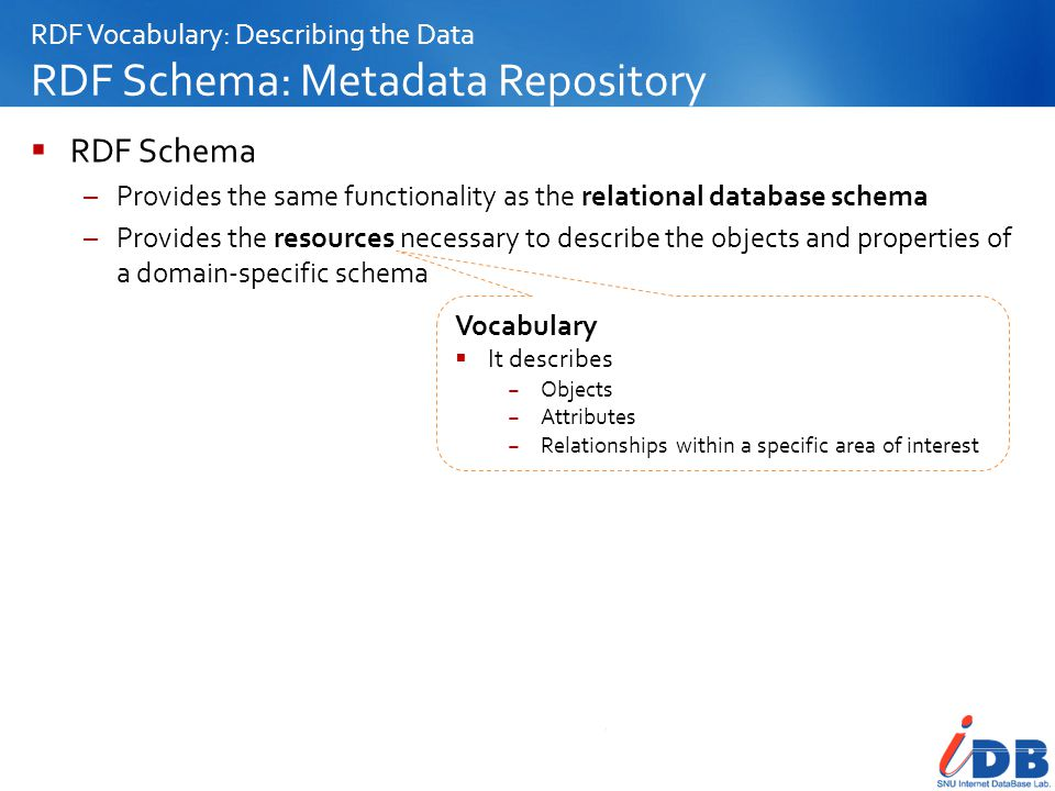 RDF Vocabulary: Describing the Data RDF Schema: Metadata Repository