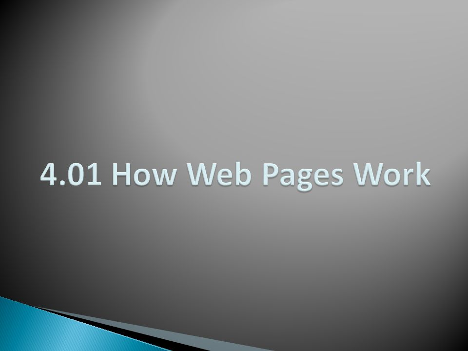 4.01 How Web Pages Work