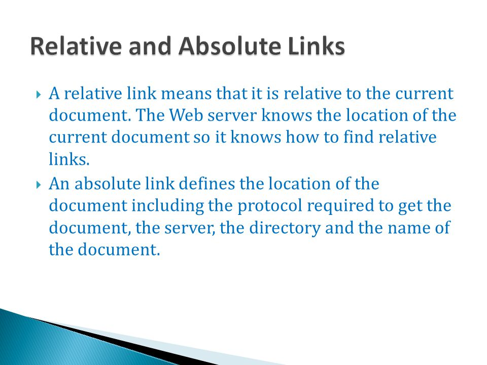 Relative and Absolute Links
