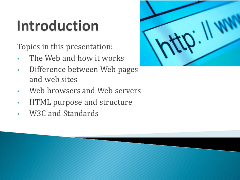 Introduction Topics in this presentation: The Web and how it works