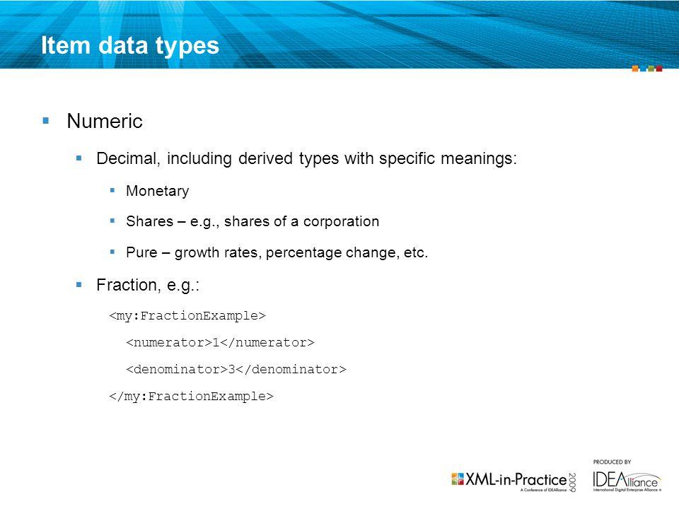 Item data types Numeric